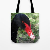 black swan Tote Bags featuring Black Swan by Moonshine Paradise