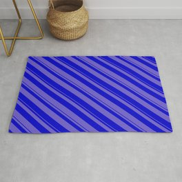 Slate Blue and Blue Colored Stripes/Lines Pattern Rug
