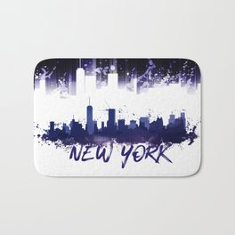 Graphic Art NYC Skyline Splashes | purple Bath Mat