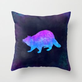 RACCOON IN SPACE // Animal Graphic Art // Watercolor Canvas Painting // Modern Minimal Cute Throw Pillow