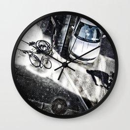 Shadow of a bicyclist on the asphalt Wall Clock