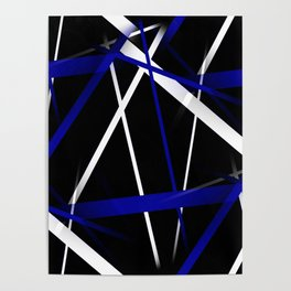 Seamless Royal Blue and White Stripes on A Black Background Poster