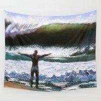 surfer Wall Tapestries featuring Vitruvian Surfer by Scott Grabowski
