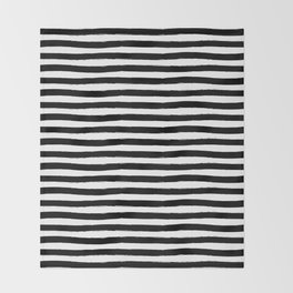 Black And White Hand Drawn Horizontal Stripes Throw Blanket