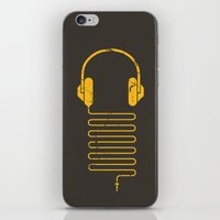 edm iPhone & iPod Skins featuring Gold Headphones by Sitchko Igor