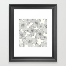 Dogwood Floral Linear: Black Ivory Framed Art Print