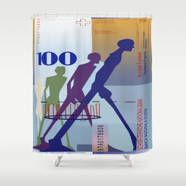100 Swiss Francs Note Bill Shower Curtain