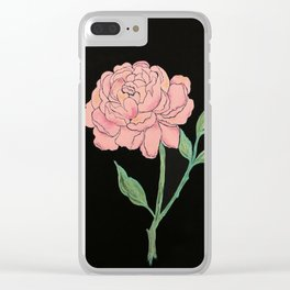 Peony on black Clear iPhone Case