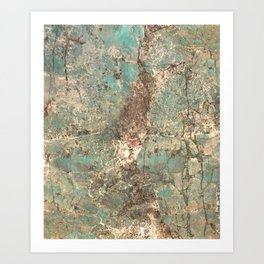 Turquoise and Fawn Brown Marble Art Print