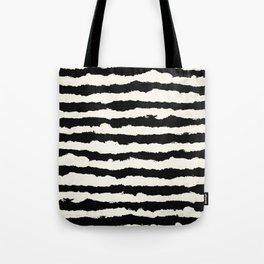 Tribal Stripes Black on Cream Tote Bag