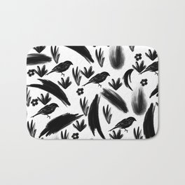 Hand painted black watercolor bird floral brushstrokes Bath Mat