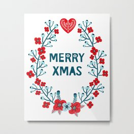 Scandinavian Christmas Greeting 02 Metal Print