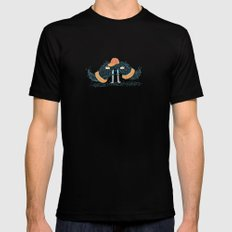 Mustache with legs Mens Fitted Tee Black SMALL