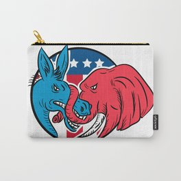 Donkey Biting Elephant Trunk American Flag Drawing Carry-All Pouch