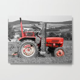 Red old tractor Metal Print