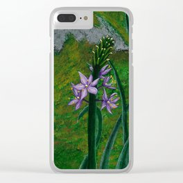 Asparagus Purple Flower painting Clear iPhone Case