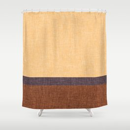 Simple Stripe Abstract with Burlap Pattern Shower Curtain