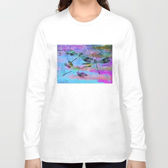 Mauritius Vintage Dragonflies Colours B Long Sleeve T-shirt