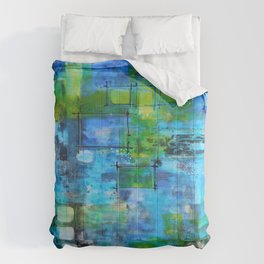 Abstract Blue Blue Comforters
