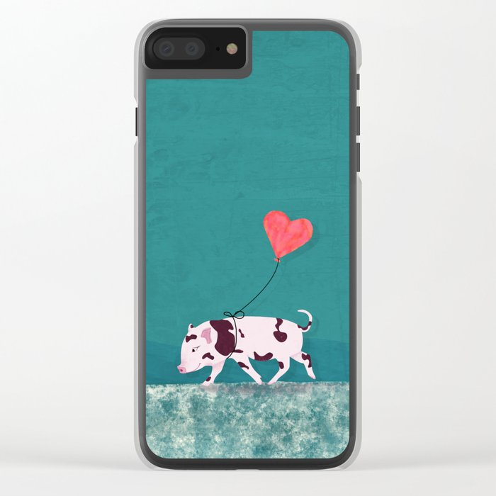 Baby Pig With Heart Balloon Clear iPhone Case