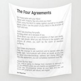 The Four Agreements #blackwhite #minimalism Wall Tapestry