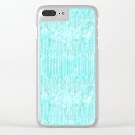 Abstract modern teal white watercolor brushstrokes pattern Clear iPhone Case