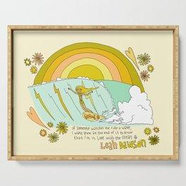 surf legend leah dawson sea love retro surf art by surfy birdy Serving Tray