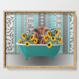 bathtub with Highland cow and sunflowers Serving Tray