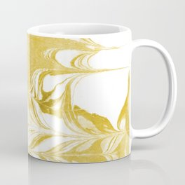 Suminagashi 3 gold and white marble spilled ink ocean swirl watercolor painting Coffee Mug
