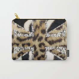 Wild | Hipster leopard Print Zebra UK Union Jack Flag  Carry-All Pouch
