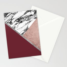 Marble Rose Gold Red Wine Triangle Geometric Stationery Cards