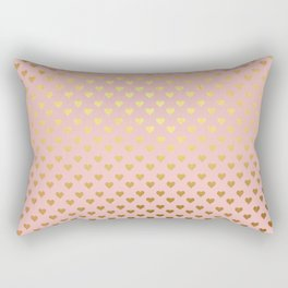 Gold and pink sparkling and shiny Hearts pattern Rectangular Pillow