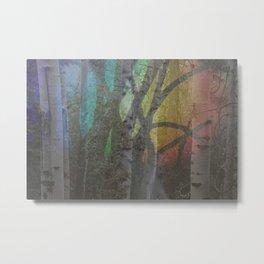 Trees at Rainbow Twilight Metal Print