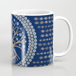 Greek Eye Tree - Mati Mataki - Matiasma on blue Coffee Mug
