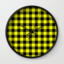 Bright Yellow and Black Lumberjack Buffalo Plaid Fabric Wall Clock