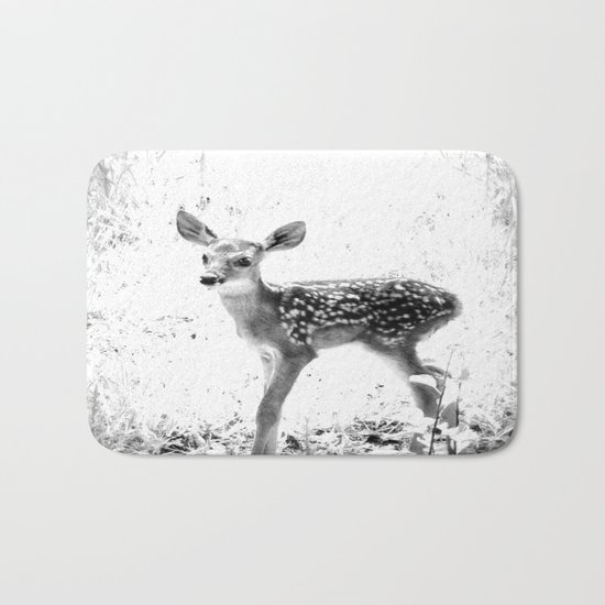 The Sweetest fawn Black & White Bath Mat