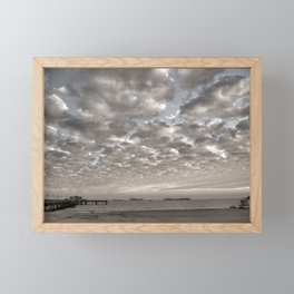 Caught in between a Pier and Lifeguard Tower Framed Mini Art Print