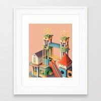 escher Framed Art Prints featuring Escher playground  by Chiara Vercesi