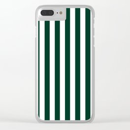 Narrow Vertical Stripes - White and Deep Green Clear iPhone Case
