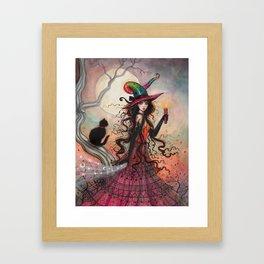 October Flame Halloween Witch and Black Cat Illustration Framed Art Print