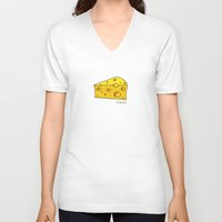 cheese V-neck T-shirts featuring Cheese by Studio14