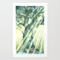 Acuarella wood Art Print
