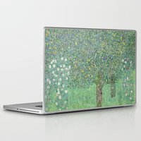 gustav klimt Laptop & iPad Skins featuring Gustav Klimt - Rosebushes under the Trees by TilenHrovatic