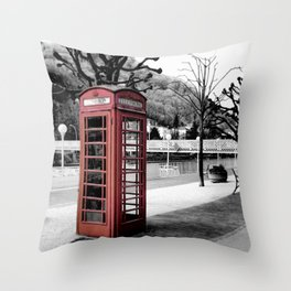 old English phone booth in colorkey Throw Pillow
