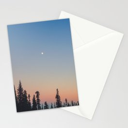 High Moon over Silhouetted Trees at Dusk Stationery Cards