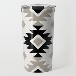 Minimalist Geometric South Western Boho Tribal Pattern in Black and Taupe Gray Travel Mug