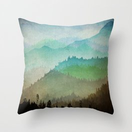 Watercolor Hills Throw Pillow