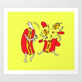 Hot Dog got a hit Art Print