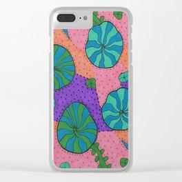 Retro Sea Garden Clear iPhone Case