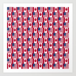 Mix of flag: Usa and Canada Art Print